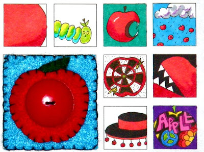 apple thumbnail ink and marker drawings