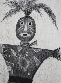 charcoal drawing of a voodoo doll