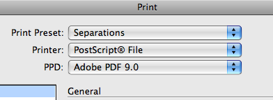 screen shot of print specification tab