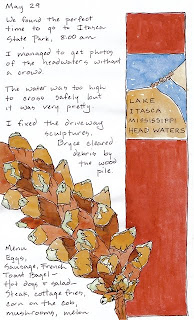 artist journal page about itasca state park