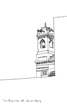 ink drawing if the basilica of St Mary Minneapolis