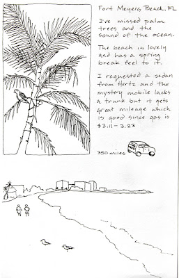 Travel journal drawings trip to Sanibel Island in Florida