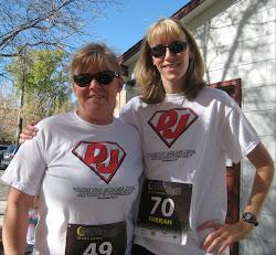 Farah & Laura running and sporting Super DJ shirts