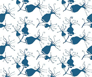 blossom, repeat pattern, blue, mizu designs