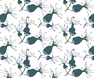 blossom, repeat pattern, teal grey, mizu designs
