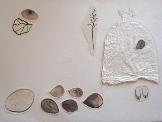 white paper dress collage, composition