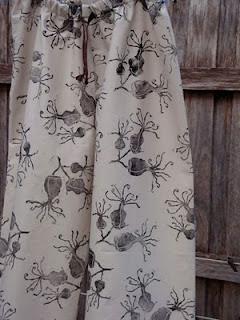 hand printed fabric, lino print, pajamas