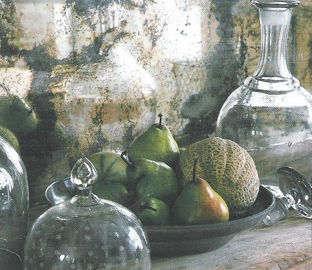 Rustic wood counter and old mirror backsplash, pears and melons still life, image via Côté Ouest Fev-Mar 2003, edit - http://www.linenandlavender.net/2009/07/linen-and-lavender.html