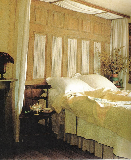 Bedrooms, Victoria Hearst Books, bed and tea, edited by lb for linenandlavender.net
