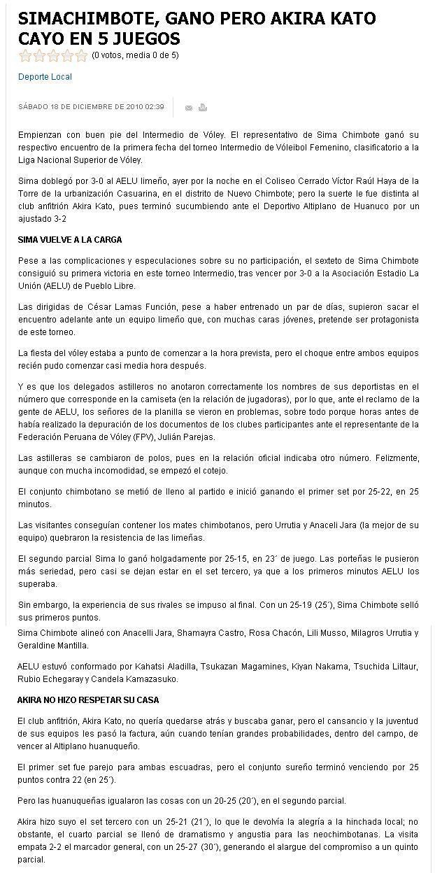 NOTICIAS DE VOLEIBOL EN PROVINCIAS  Sima%2Bchimbote