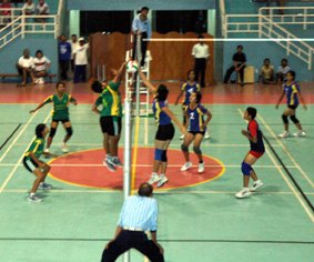 lapangan ukuran lapangan bola voli yang umum adalah 9 meter x 18 meter