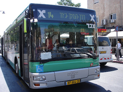 "Jerusalem bus with sign that reads ""To the beach"""
