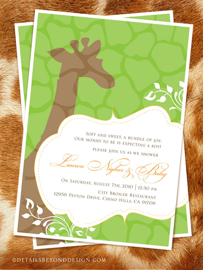 details beyond design by lauren giraffe baby shower invitations