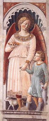 Bennozzo Gozzoli, Raphael and Tobias (Chapel of Sant'Agostino, San Gimignano, 1464-65)
