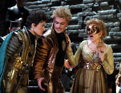 Kate Aldrich, Vittorio Grigolo, and Rene Fleming in Lucrezia Borgia, Washington National Opera, photo by Karin Cooper
