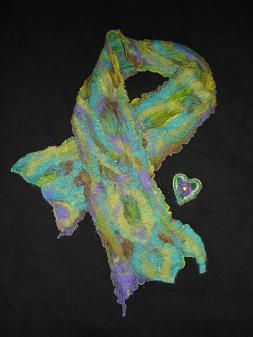 Nuno-felted Scarf & Heart Pin