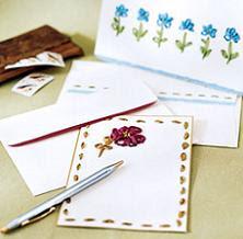 tarjetas con flores bordadas en cinta