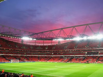 Ashburton Grove at dusk.