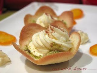pistachio tuille mascarpone cream cumquats