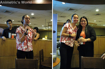 Starbucks CSR Manager Zarah Perez with raffle winner