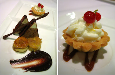 Terrine of Tiramisu with Peach Tartlet and Seared Banana dessert at Lolo Dad's Brasserie
