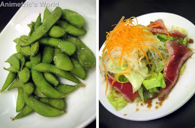 Edamame and Green Salad with Seared Tuna at Nama Sakana