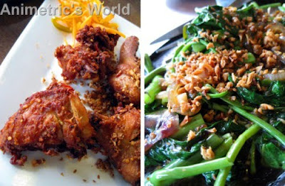 Spicy Garlic Fried Chicken and Sizzling Kangkong at Gerry's Grill