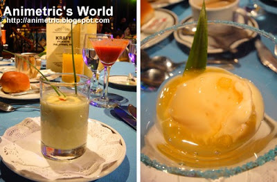 Eggplant Soup with Cheese Foam and Tomato Float and Pineapple-Cheese Sorbet with Lemon Grass @ Kraft Eden cheese event