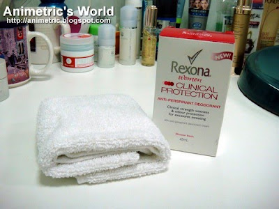 Rexona Clinical Protection and towel