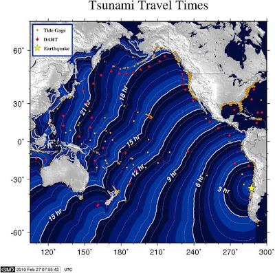>Huge quake hits Chile; tsunami threatens Pacific