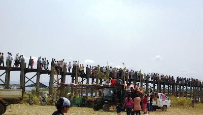 U Pain Bridge in Mandalay from Upper Burma crowded with Thingyan Goers