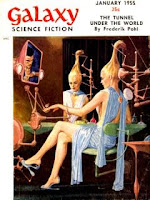 Cover image by EMSH of Galaxy Science Fiction magazine, January 1955 issue.