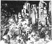One of the illustrations accompanying the short story Alanias of L Sprague de Camp in Dynamic Science Stories