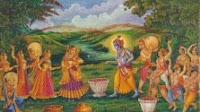 Holi art, with Krishna and Radha participating in Raas. Click image for full sized original.