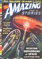 Front cover image of Amazing Stories magazine, August 1940 issue. A painting by Leo Morey and Julian S Krupa, depicting a scene from the story Suicide Squadrons of Space by David Wright O Brien.