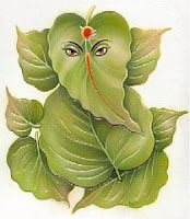 An image of Ganesh ji, made from tree leaves