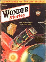 Cover image of Wonder Stories magazine, Volume 4 Number 3 August 1932 issue. It depicts a scene from the short story The Space Coffin by A Rowley Hilard.
