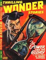 Cover image of the magazine Thrilling Wonder Stories, December 1947 issue. It is a painting by Earle Bergey illustrating the story The Timeless Tomorrow by Manly Wade Wellman.