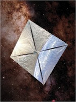 Illustration accompanying a 9 November 2009 story titled _Setting Sail Into Space, Propelled by Sunshine_ by Dennis Overbye in The New York Times. Story is about a series of forthcoming launches of solar sail powered experimental spacecraft dubbed LightSail, a project of Planetary Society.