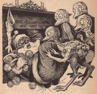 Illustration accompanying the short story Christmas on Ganymede by Isaac Asimov in the anthology in 1953 anthology Wonder Story Annual, Vol 2 No 1, edited by Samuel Mines. Image shows human Santa Claus giving Christmas presents to Ossies, the Ganymedean natives
