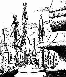 Illustration by Bill Terry accompanying the original publication in Other Worlds Science Stories of the short story War of Nerves by A E van Vogt