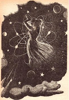 An illustration accompanying the original publication in Startling Stories magazine of novel The Star Watchers by Eric Frank Russell