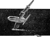 One of the illustrations, by George Schelling, accompanying the original publication in Analog magazine of short story The Last Straw by William J Smith. Picture shows an airplane beginning to crash, against night sky.