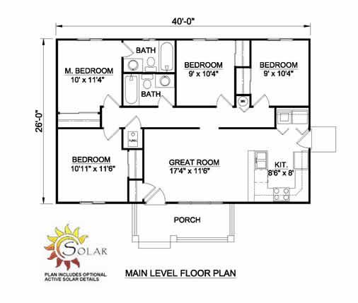 Plano de casa de 4 dormitorios y 96 metros cuadrados - Planos de casas de 100 metros cuadrados ...