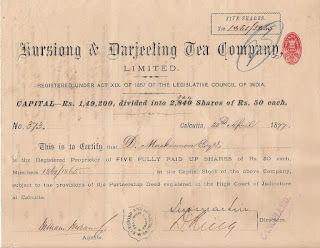 Share of the Kursiong and Darjeeling Tea Company from India