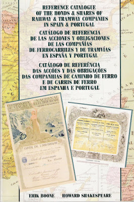 front cover of the catalogue on shares and bonds of railway and tramway companies from  Spain and Portugal
