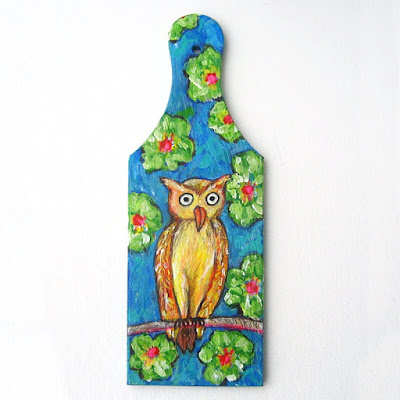 hand painted owl cutting board
