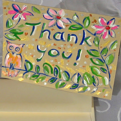 hand painted owl thank you card