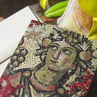Lady of the Grapes, Mosaic and Flowers Card