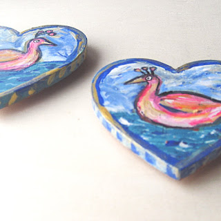 Swan Love , hand-painted swan magnets